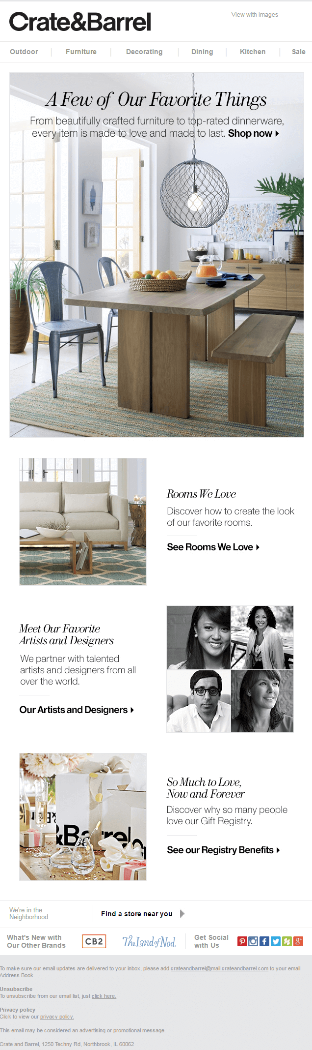 Crate & Barrel Email Example