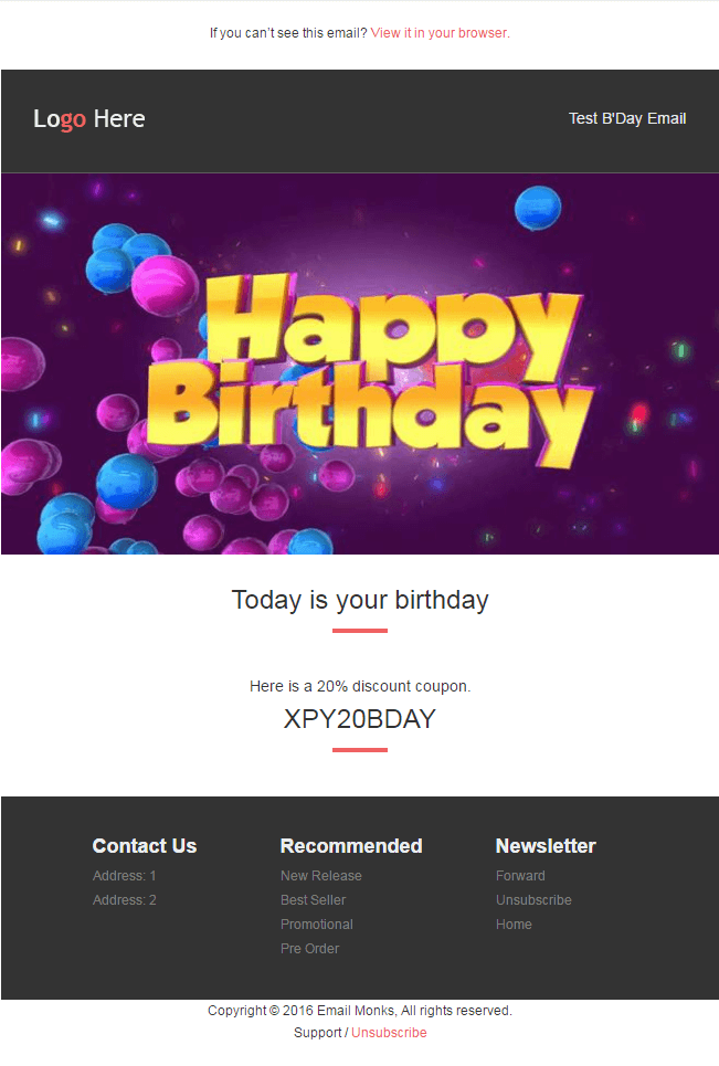 Email HTML Templates - B'day