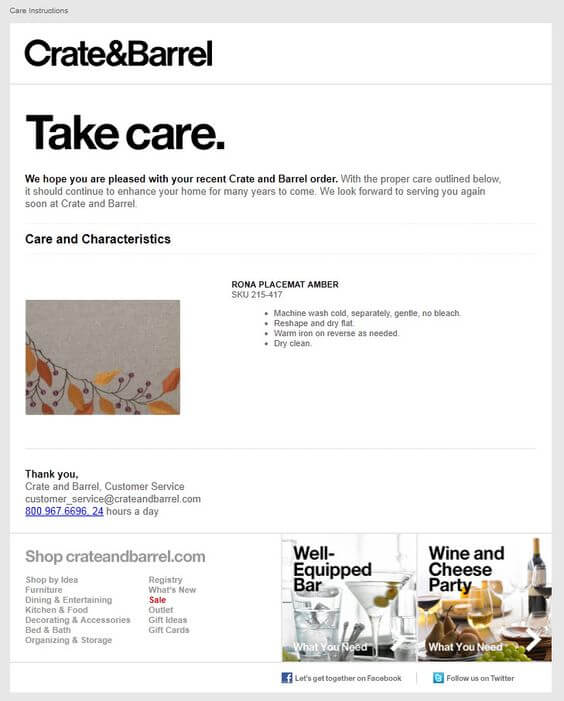 Email Example Crate Barrel