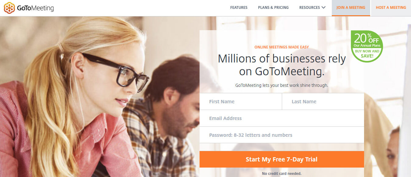 Goto Meeting landing page example