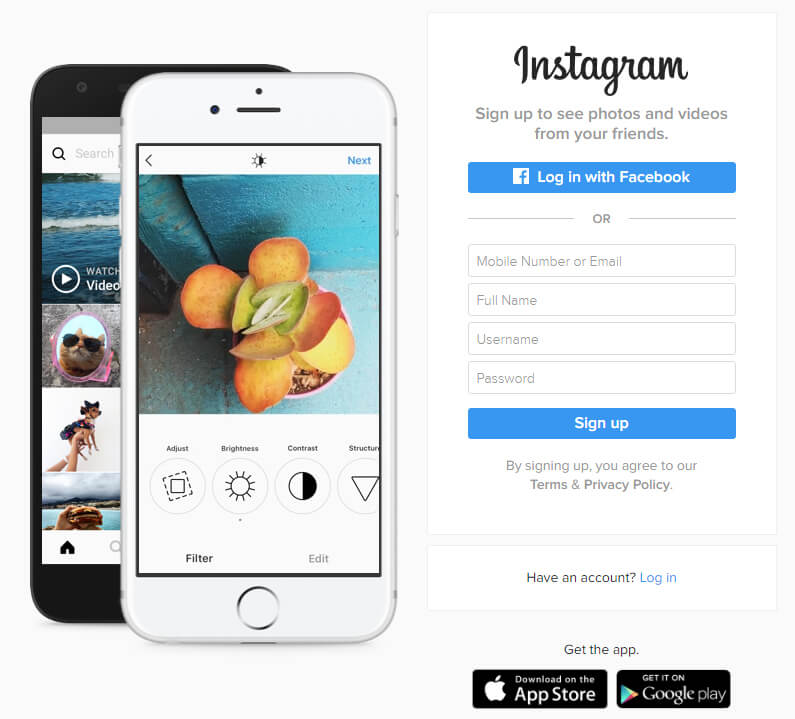 Instagram- landing page element headline