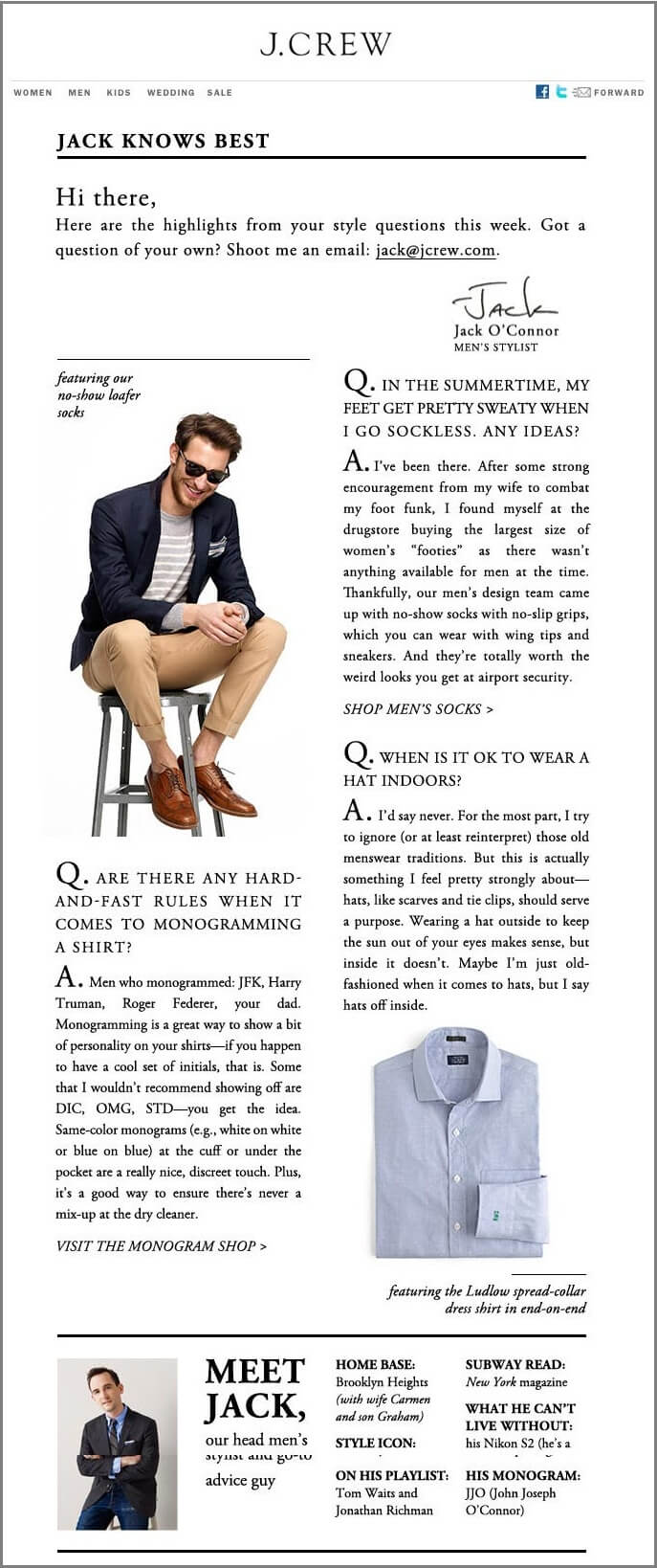 J-Crew-Male-email list segmentation