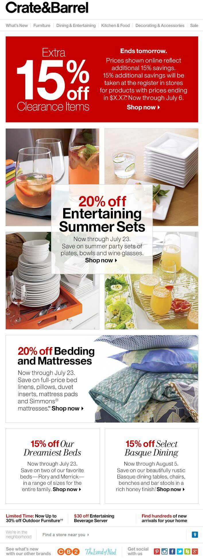 Promotional business email sample of Crate and Barrel