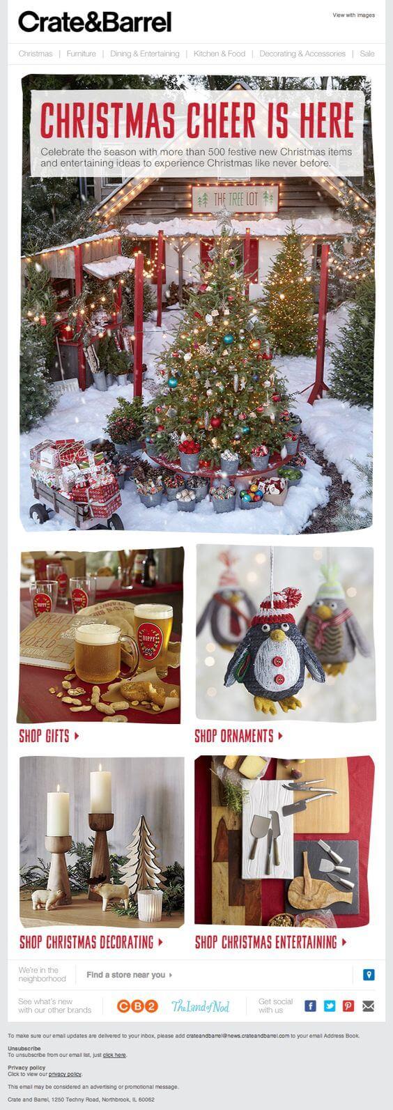Seasonal promotion email example