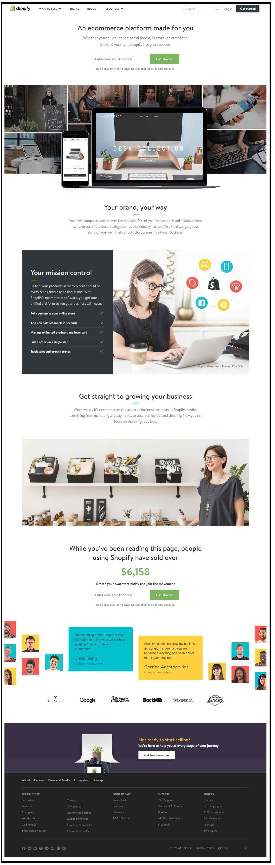 Shopify sample landing page