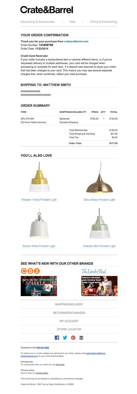 Transactional email sample by Crate & Barrel