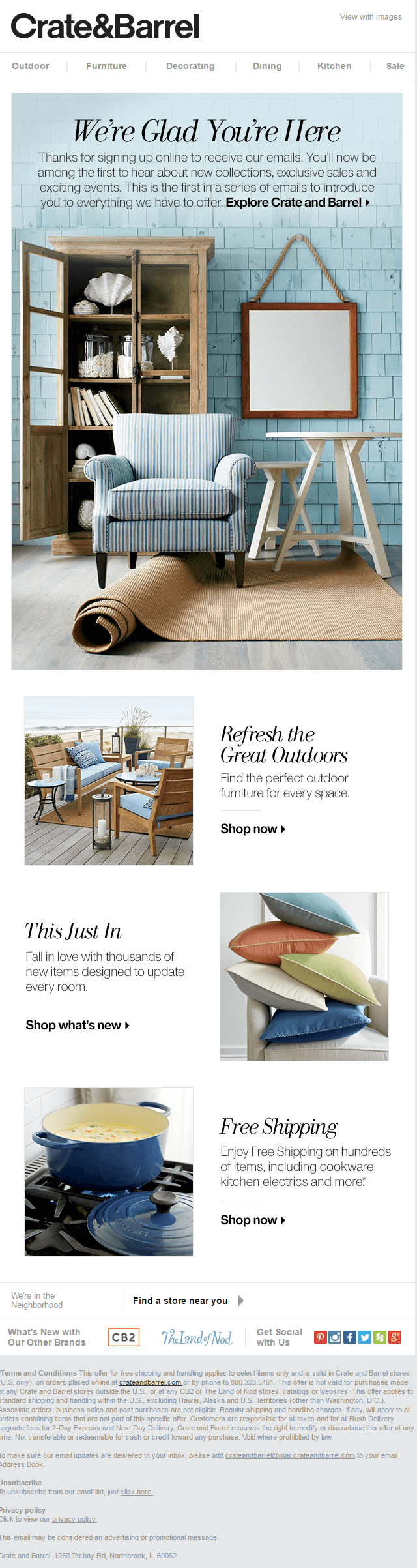 Welcome Email Sample Of Crate And Barrel.