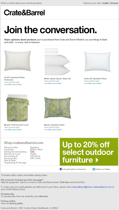crate and barrel leave a review email sample