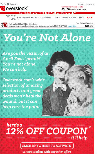 Overstock-april fools day email sample