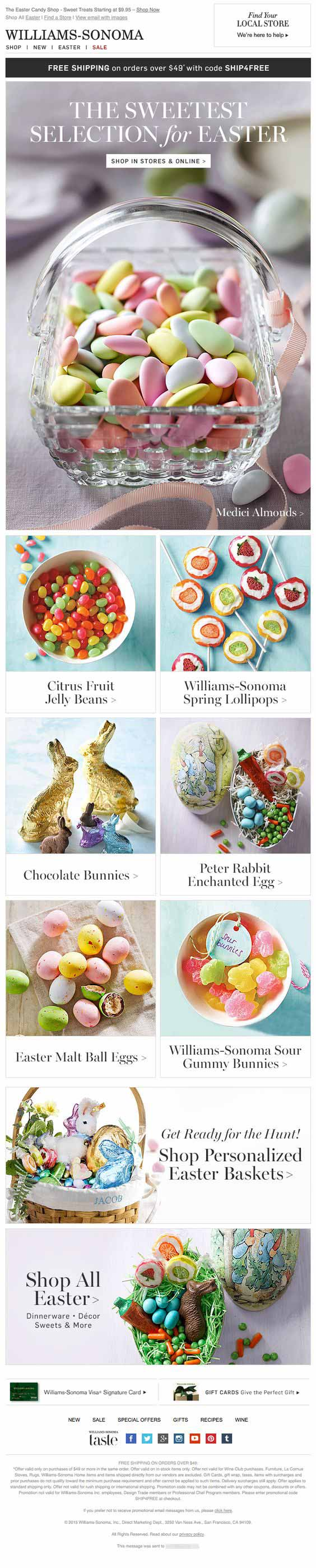Williams Easter email example