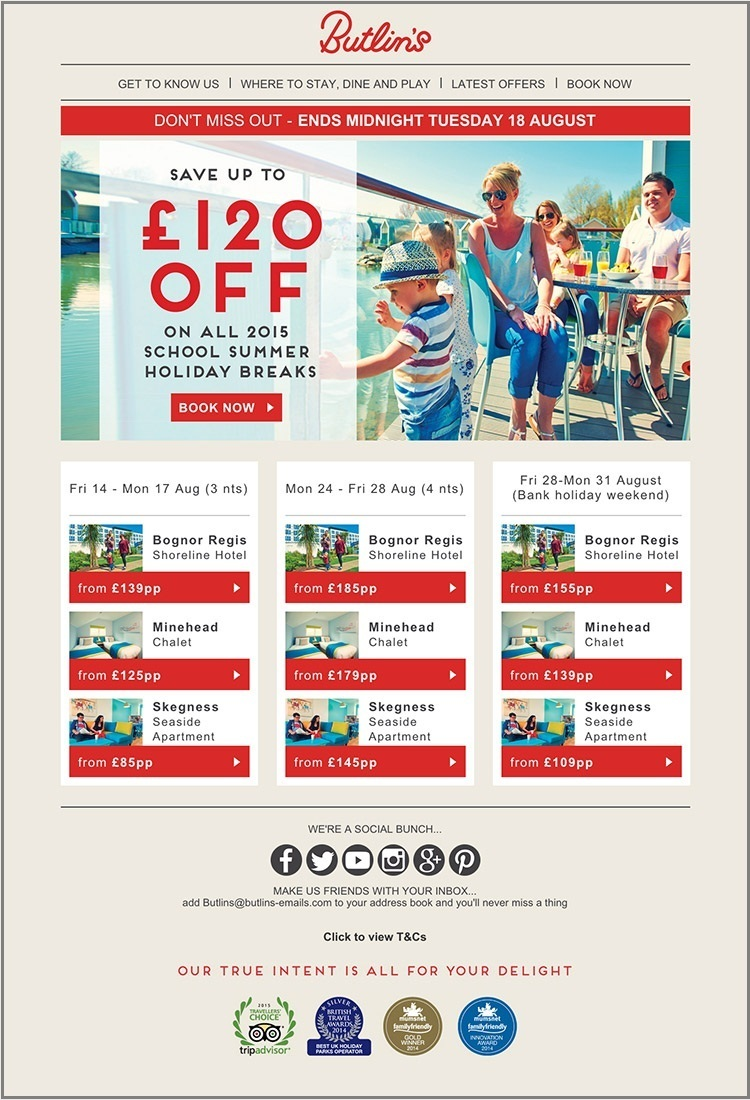 email template examples- Butlin's