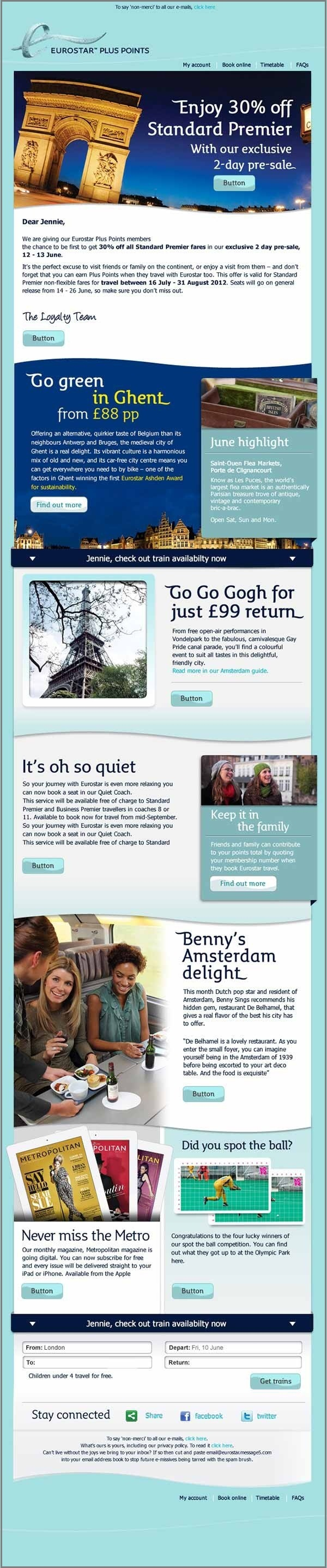 email template examples- Eurostar