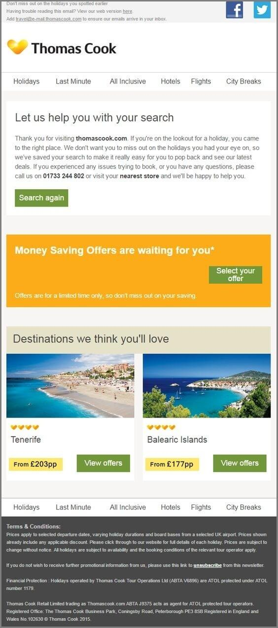 email templates design- Thomas Cook