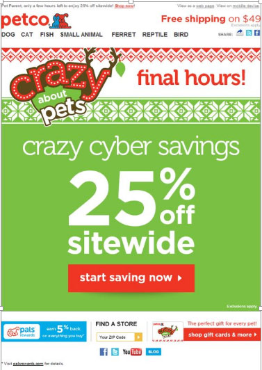 holiday email petco
