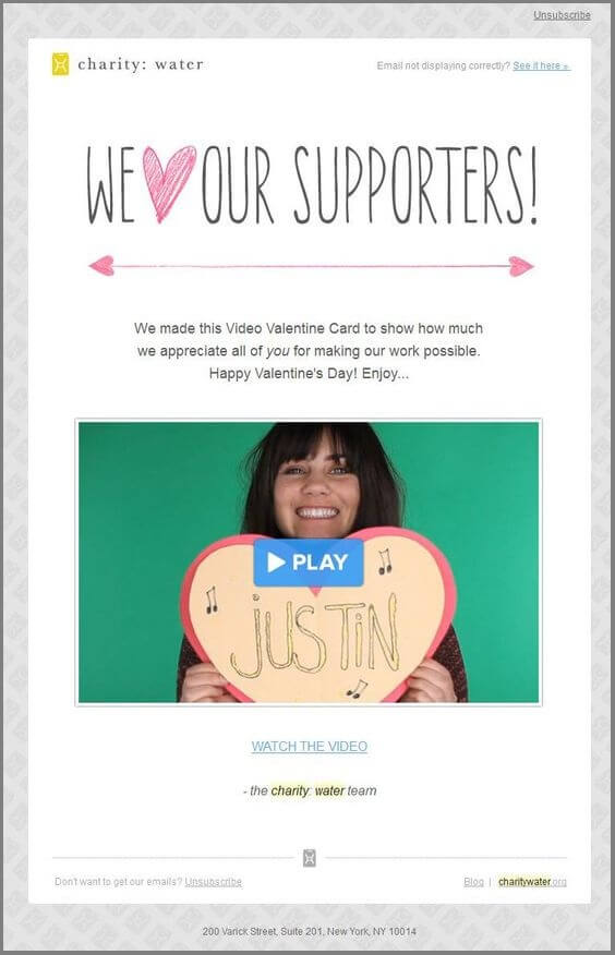 valentines day email template-charity water