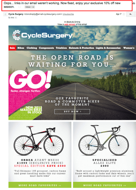 CycleSurgery-email marketing mistakes