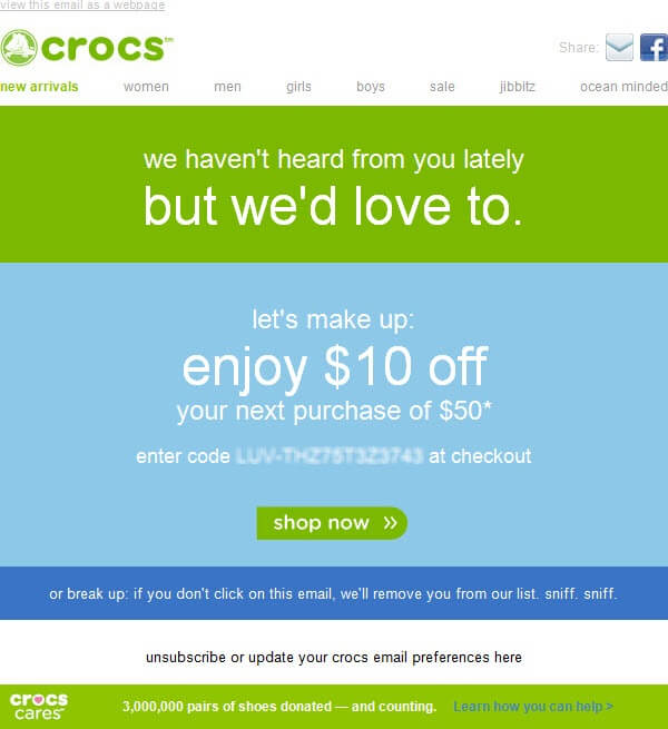 Email list cleaning example-Crocs