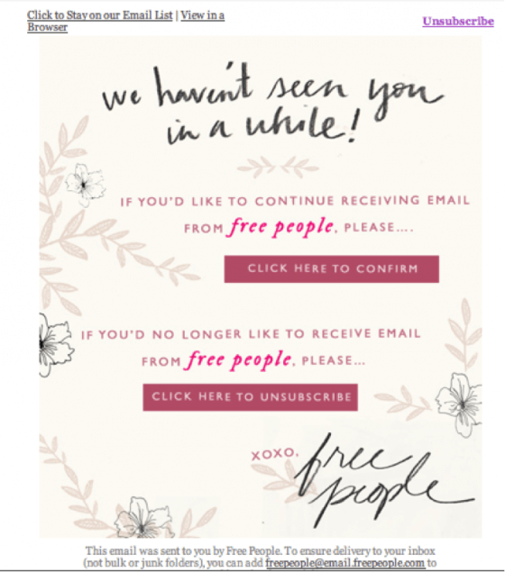Email list cleaning example-Free-people