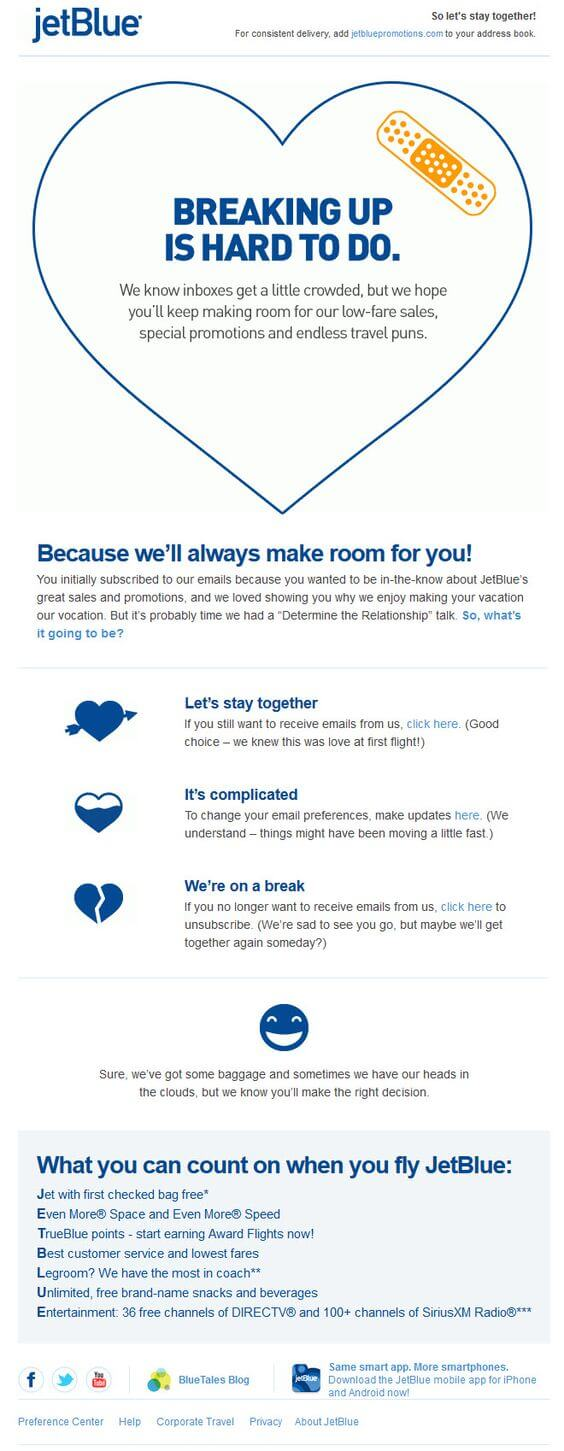 Email list cleaning example-Jetblue