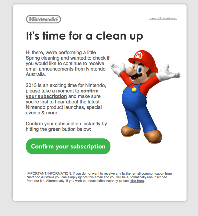 Email list cleaning example-Nintendo