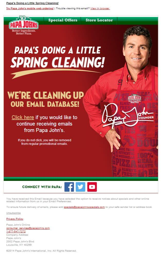 Email list cleaning example-papa-johns