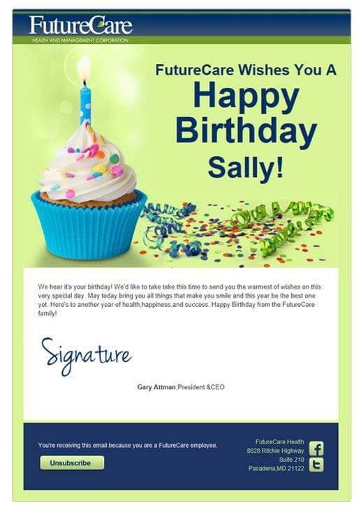 Birthday - personalized images in email