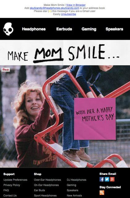Skull-Candy-mother's day email inspirations