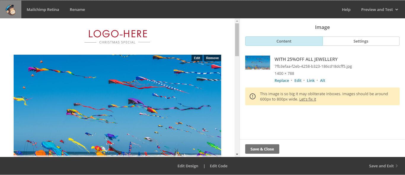 mailchimp image size Image-editor