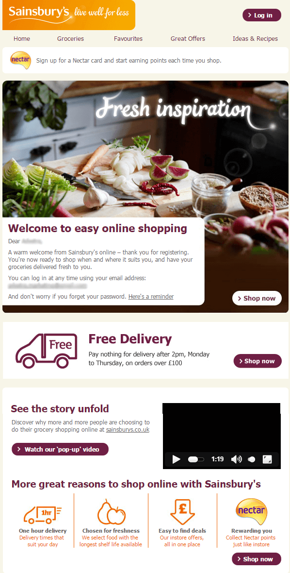 sainsburys - Welcome Emails