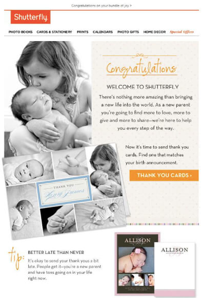 shutterfly-new-baby-email marketing mistakes