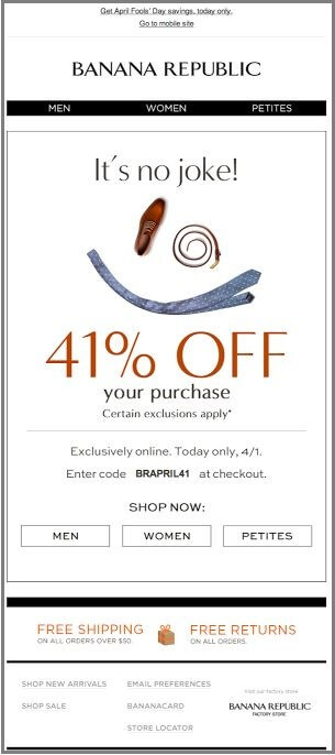 April Fools Emails-Banana Republic
