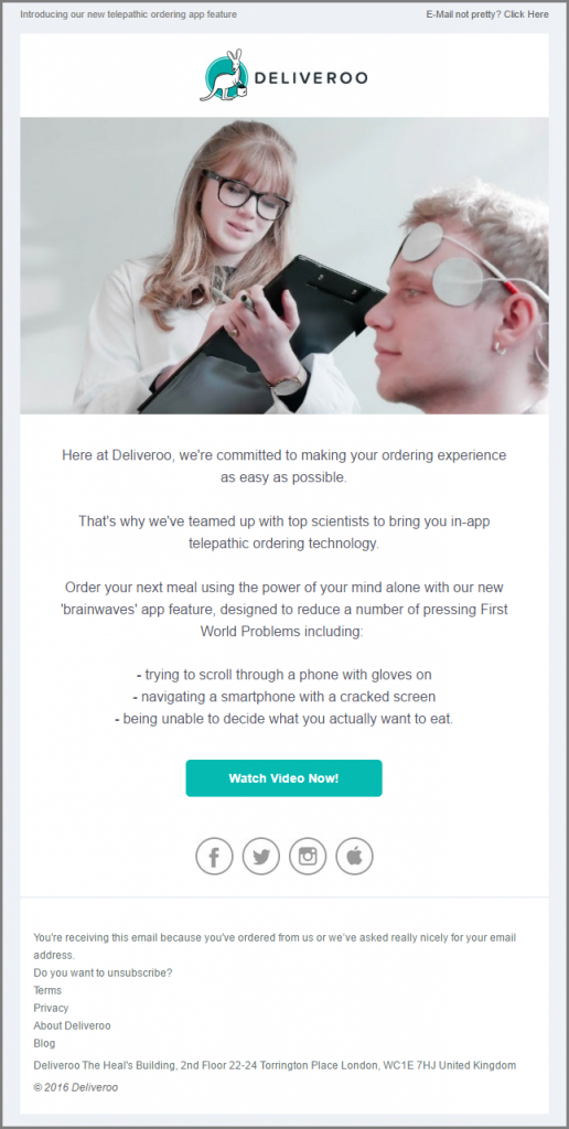 April Fools Emails-Deliveroo