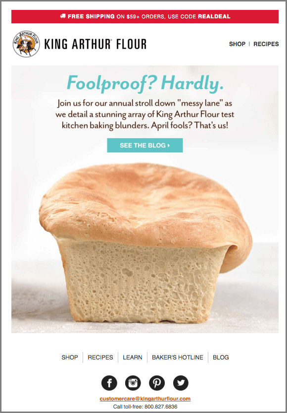 April Fools Emails-King Arthur Flour
