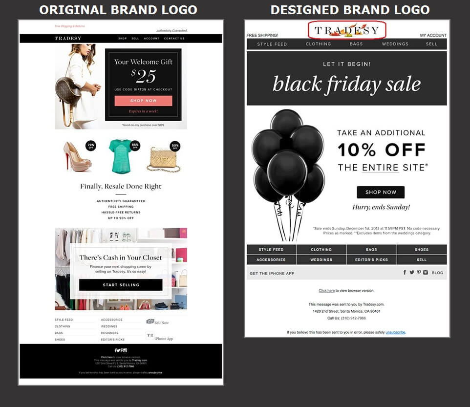Beautiful Email Design - Tradesy