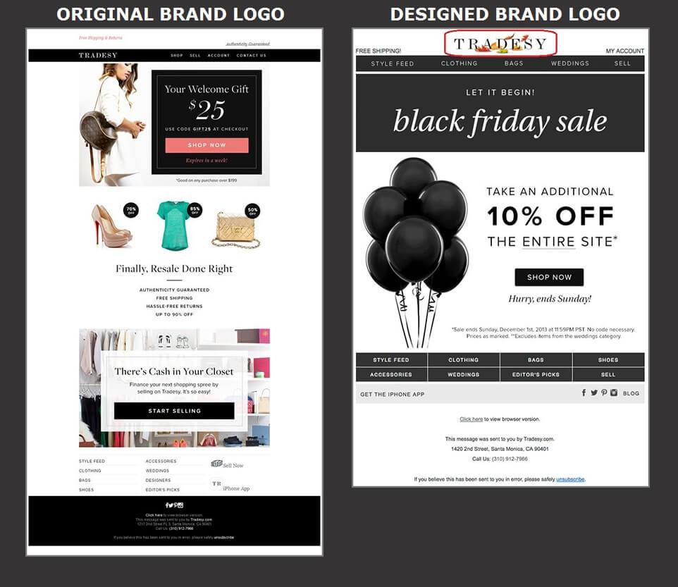 Beautiful Email Design - Tradesy