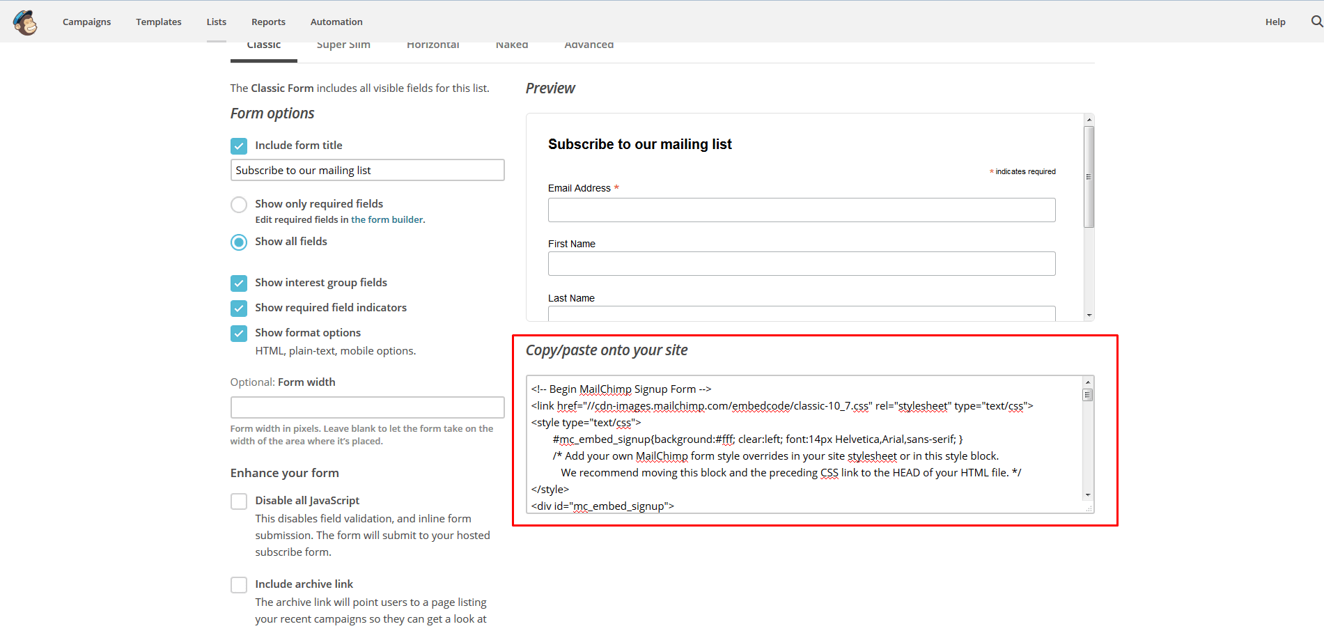 Background image mailchimp - Embed Code Signup Form