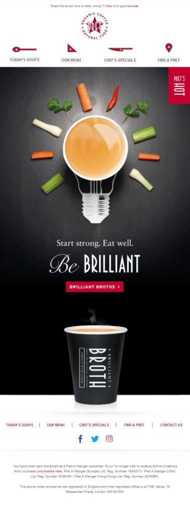 Pret food industry email