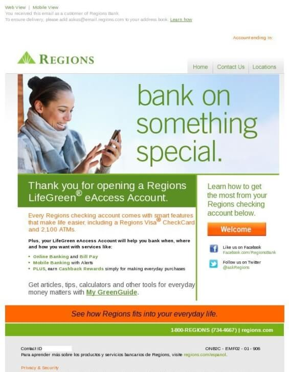 Regions-Welcome-email-Bank Email Templates