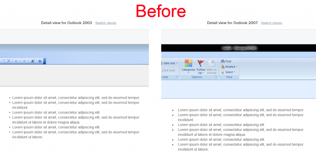 before workaround-bullet list in Outlook