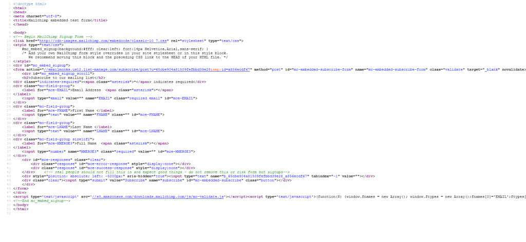 code of the html