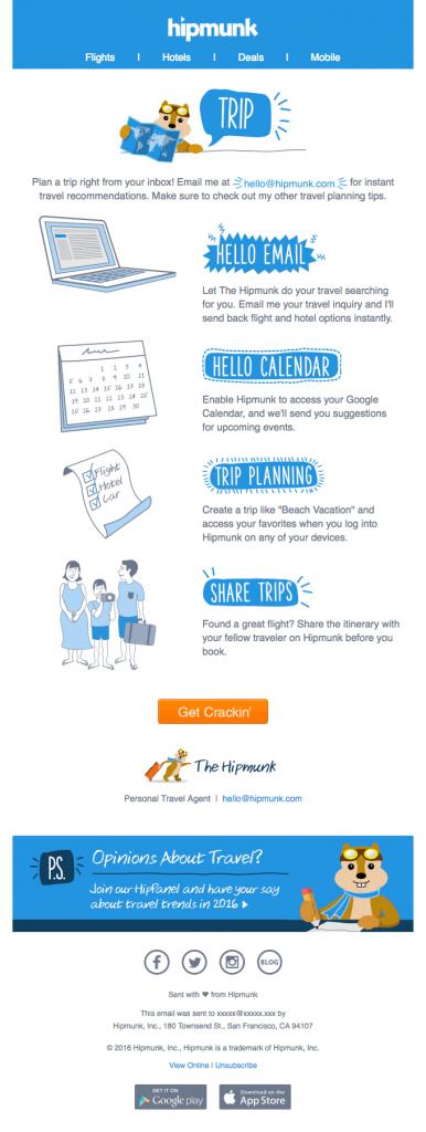 Minimalist email design Hipmunk