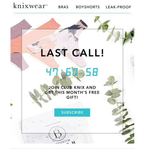 knixwear CTA Email