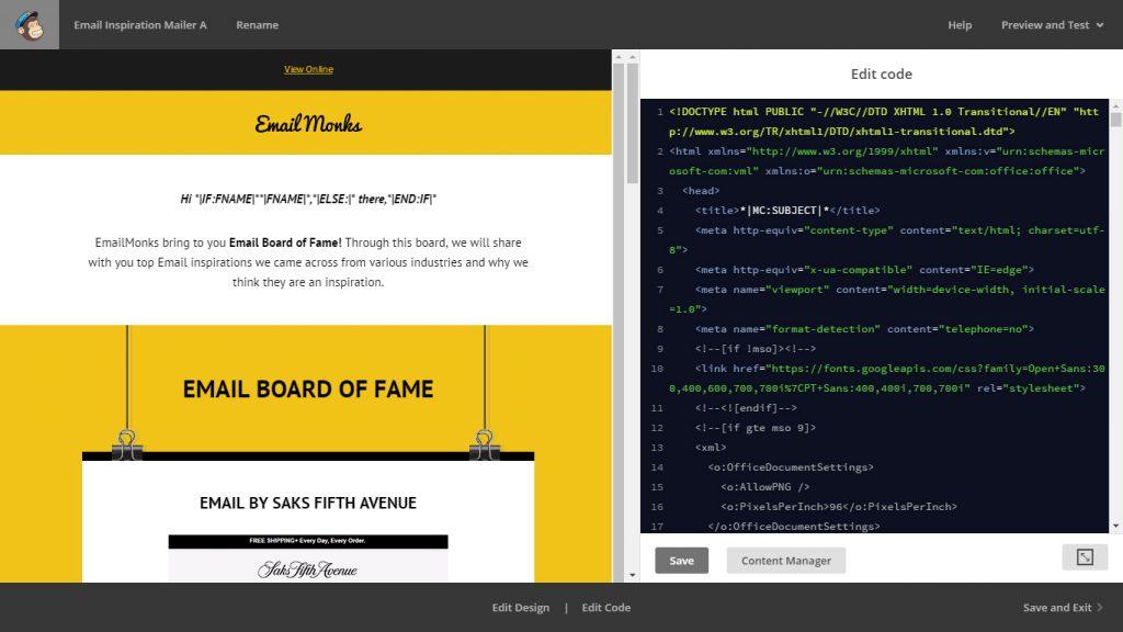 MailChimp code editor