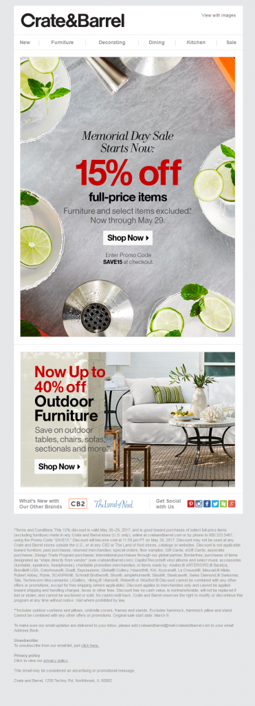 Memorial day Crate and Barrel 2
