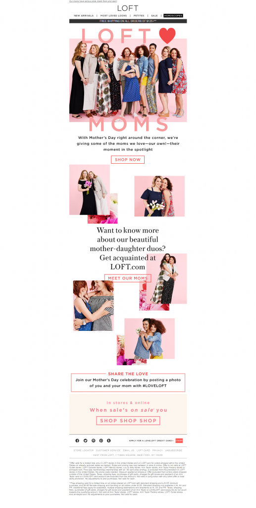 Mother's day Email Loft