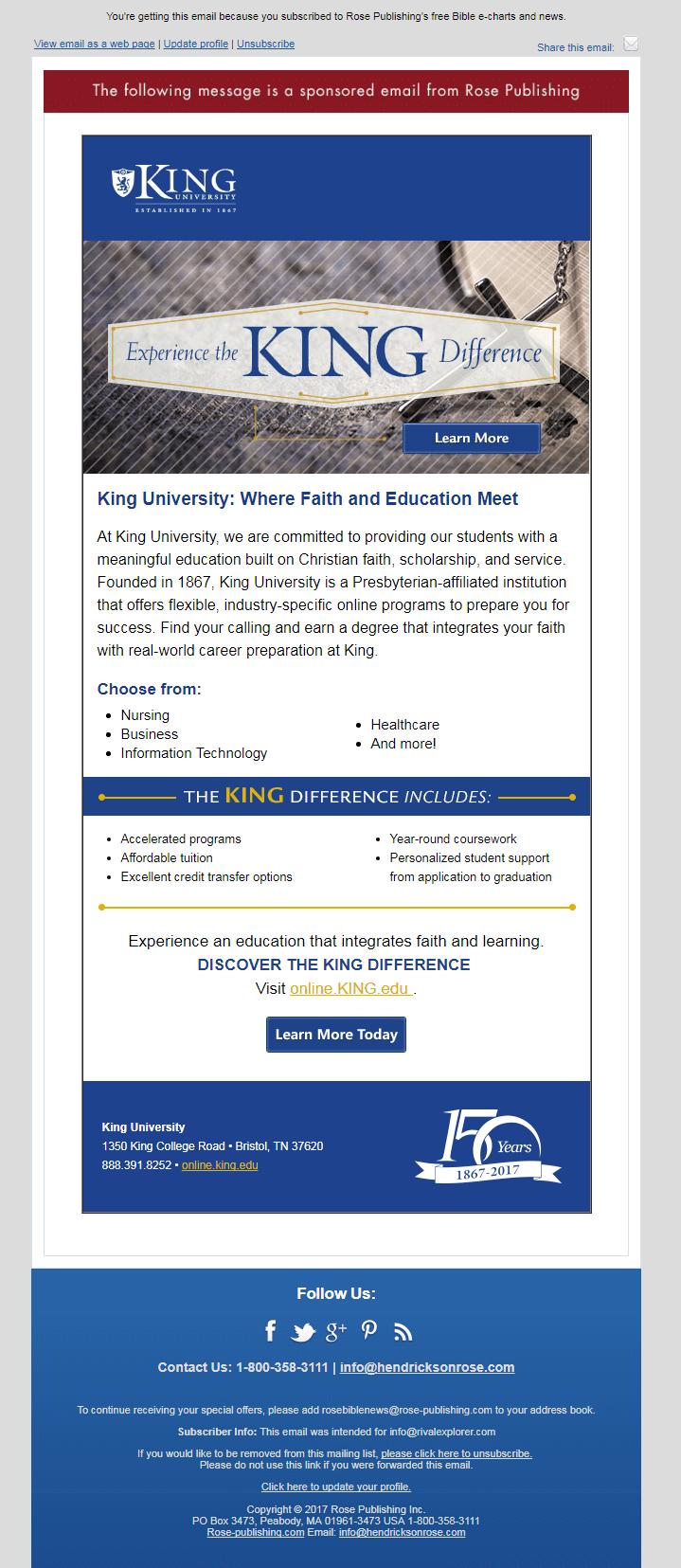 Educational Email- King University
