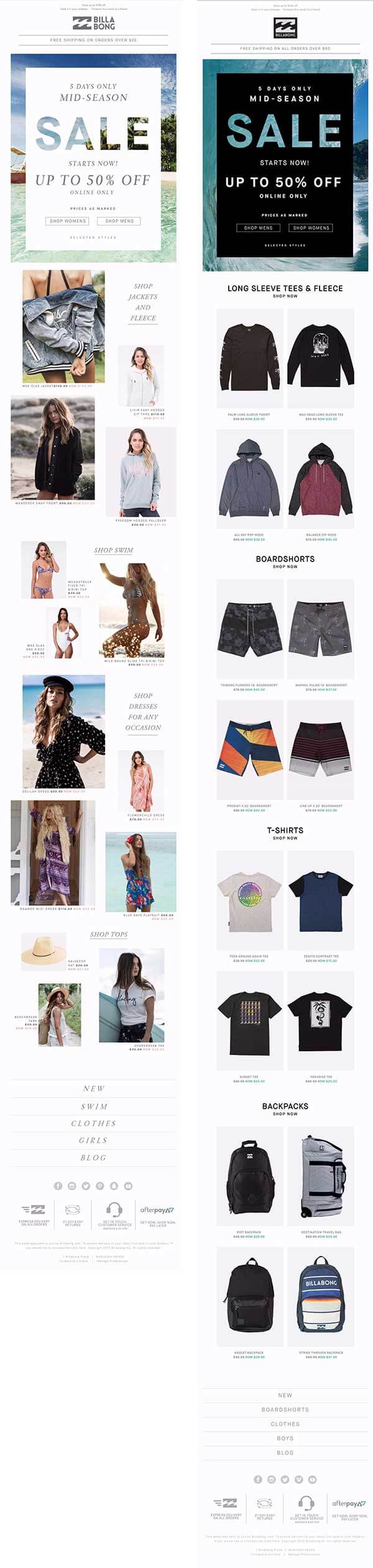 personalized emails - Billabong