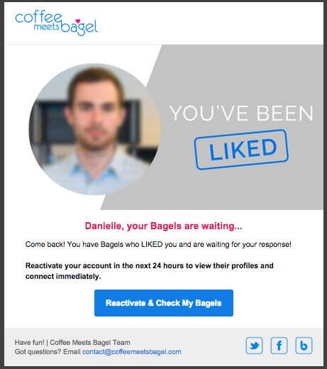re-engagement emails - Coffee meets bagel