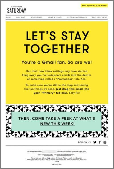 re-engagement emails - Kate Spade