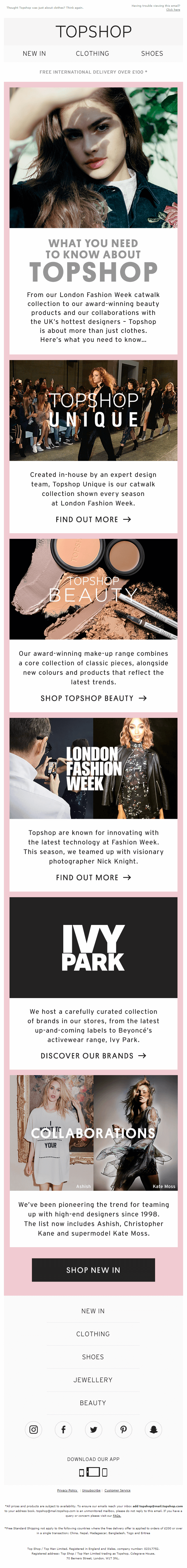 fourth email in the TopShop welcome email series